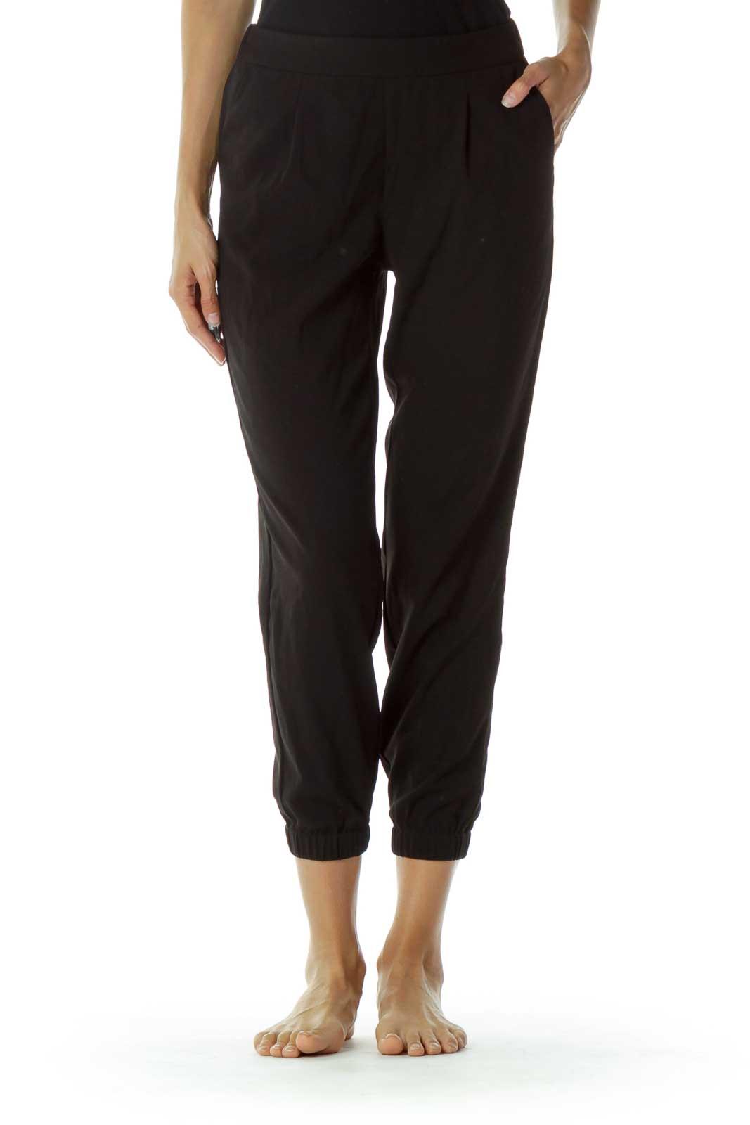 Black Pocketed Skinny Pants Front