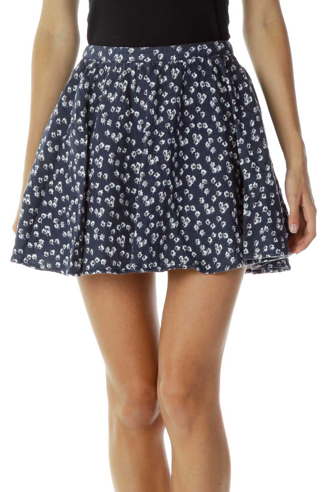 Navy Floral Mini Skirt Front