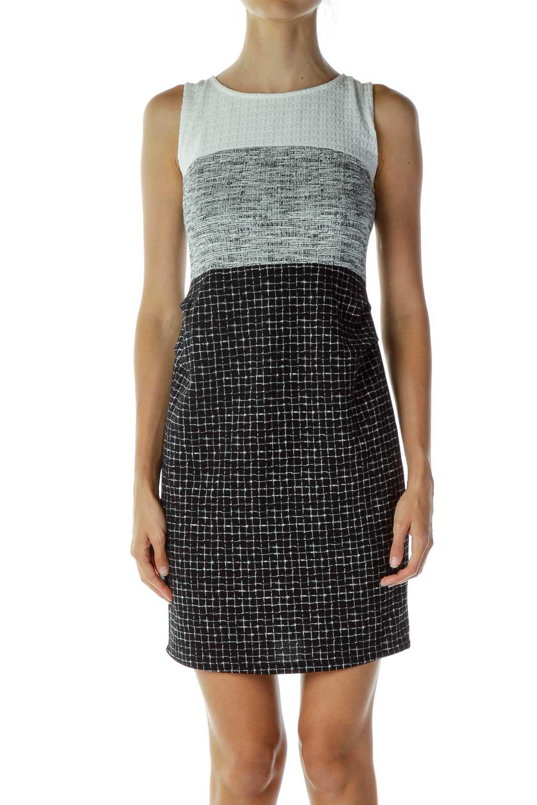 Black & White Checkered Dress Front