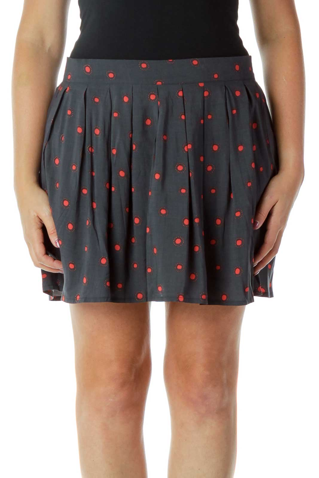 Gray Red Dots Print Flared Mini Skirt Front