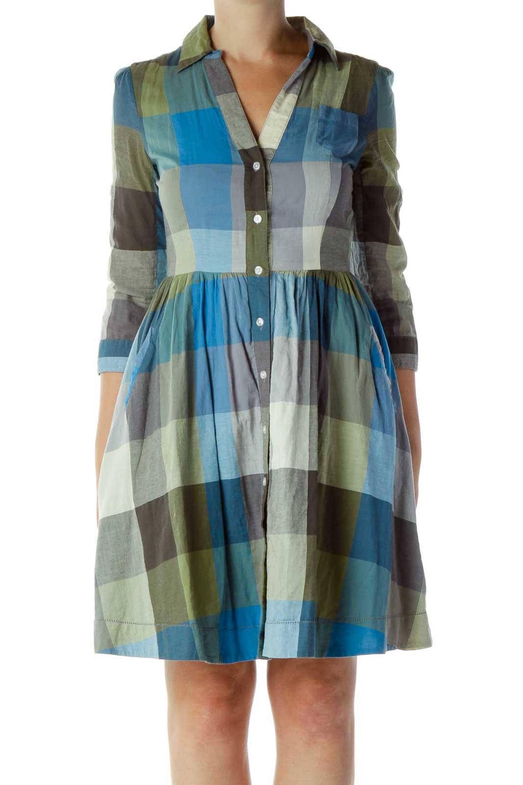 Blue & Green Gingham Dress Front