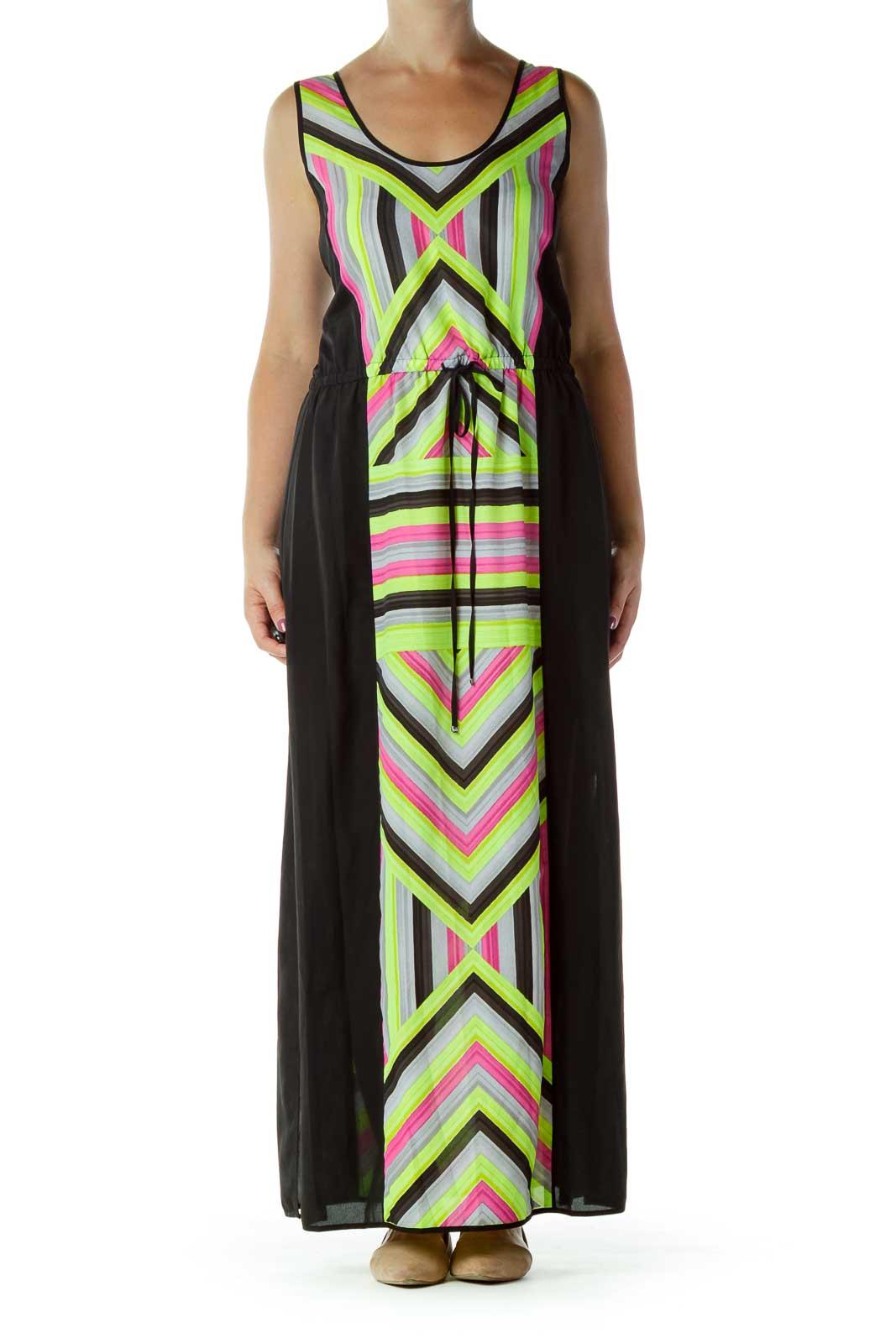 Black Striped Maxi Dress Front