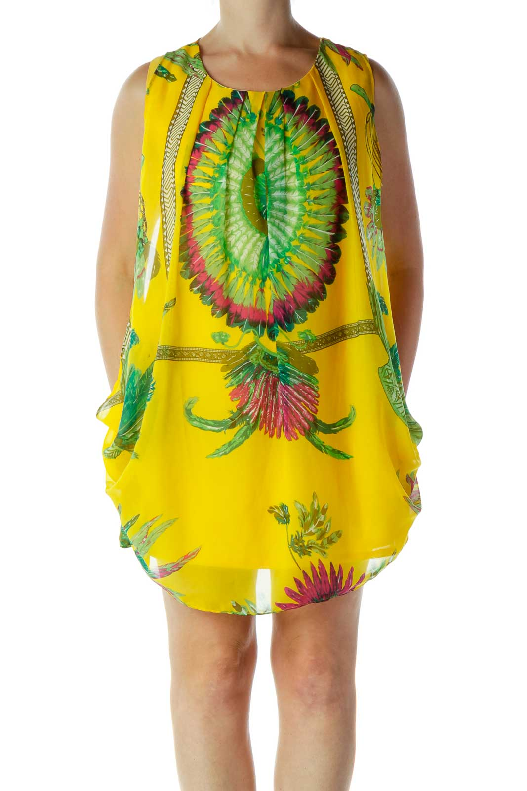 Yellow Feather Print Dress Front