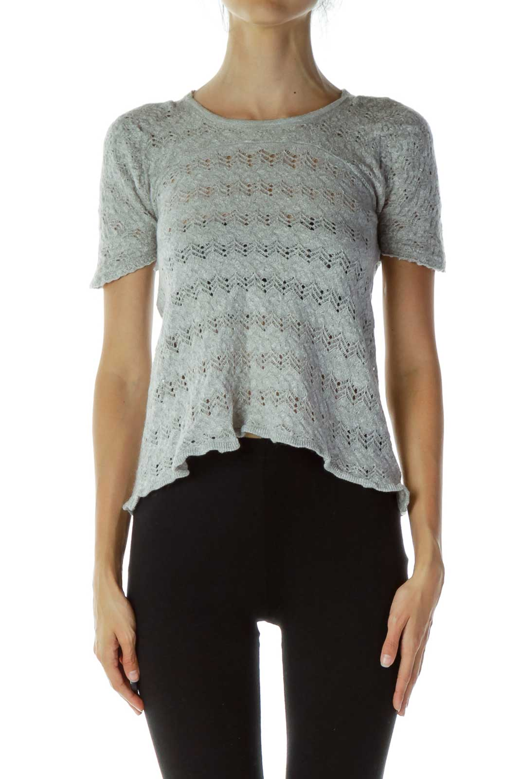 Gray Open-Back Knit Top Front