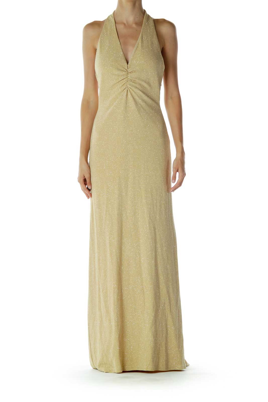 Gold Sparkly Evening Dress Front
