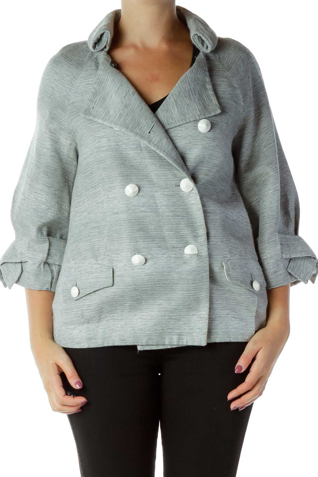 Gray Buttoned Suit Jacket Front