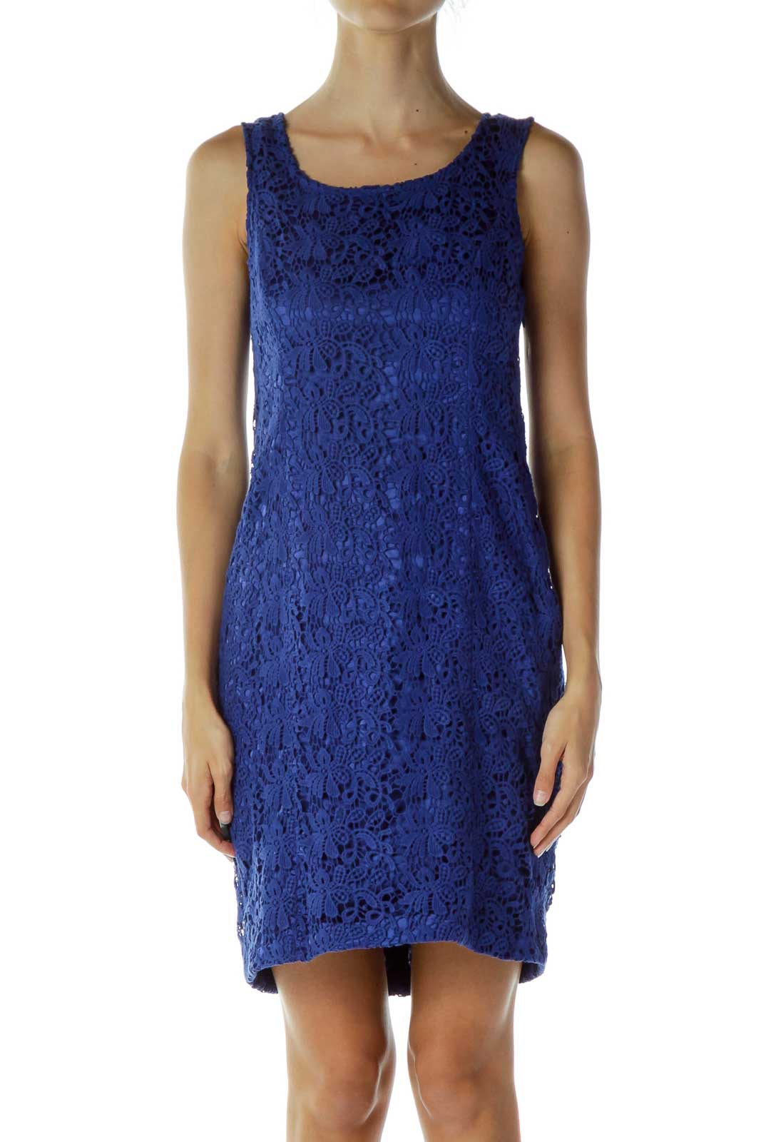 Blue Crocheted Cocktail Dress Front