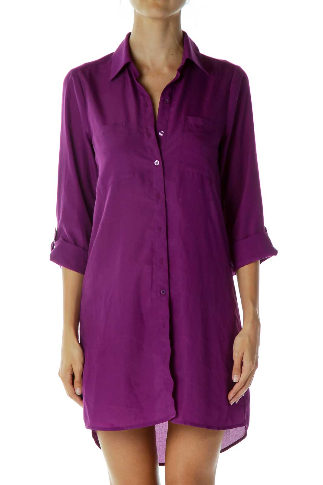 Purple Collared Shirt Dress Front