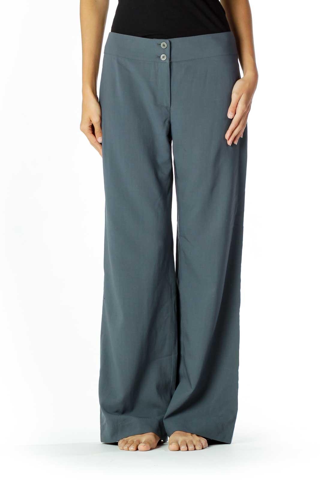 Gray Wide Leg Slacks Front