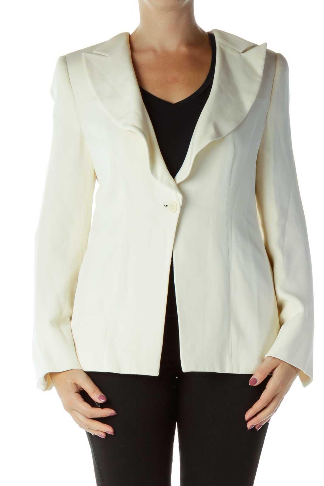 Cream Buttoned Suit Jacket Front