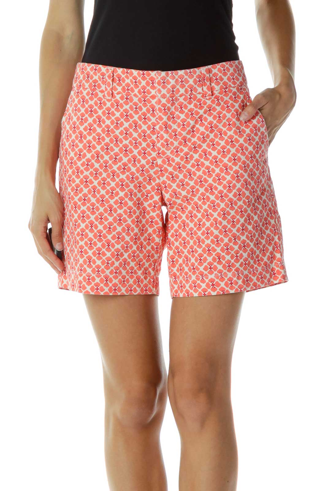 Coral Floral Shorts Front