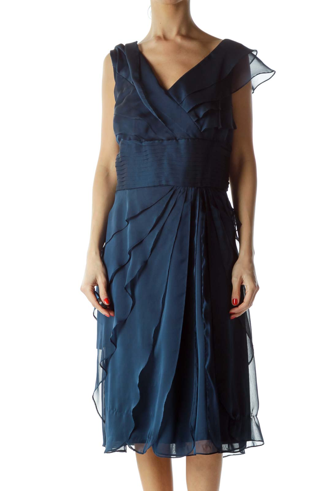 Blue Ruffled Cocktail Dress Front