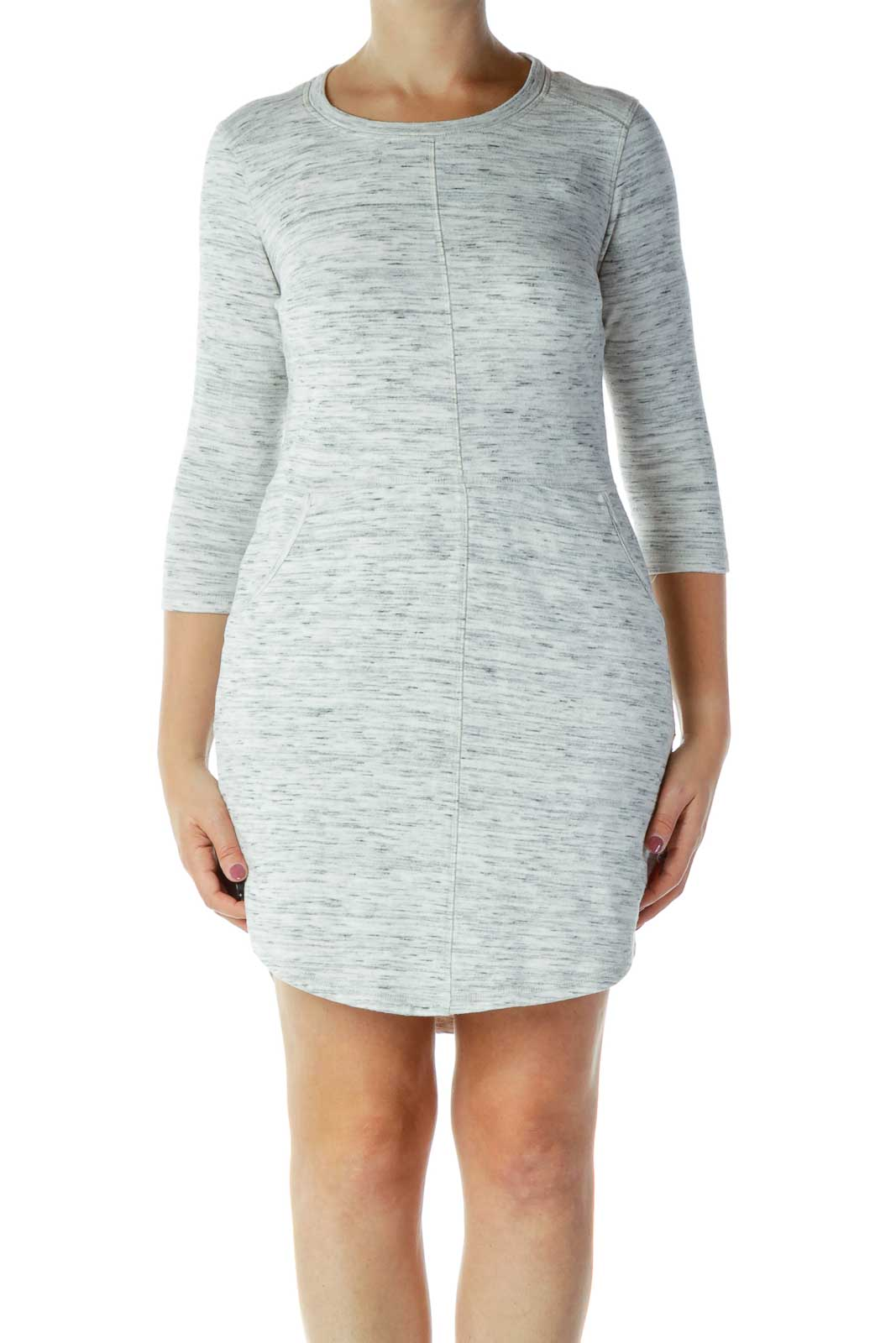 Gray Mottled Knit Dress Front