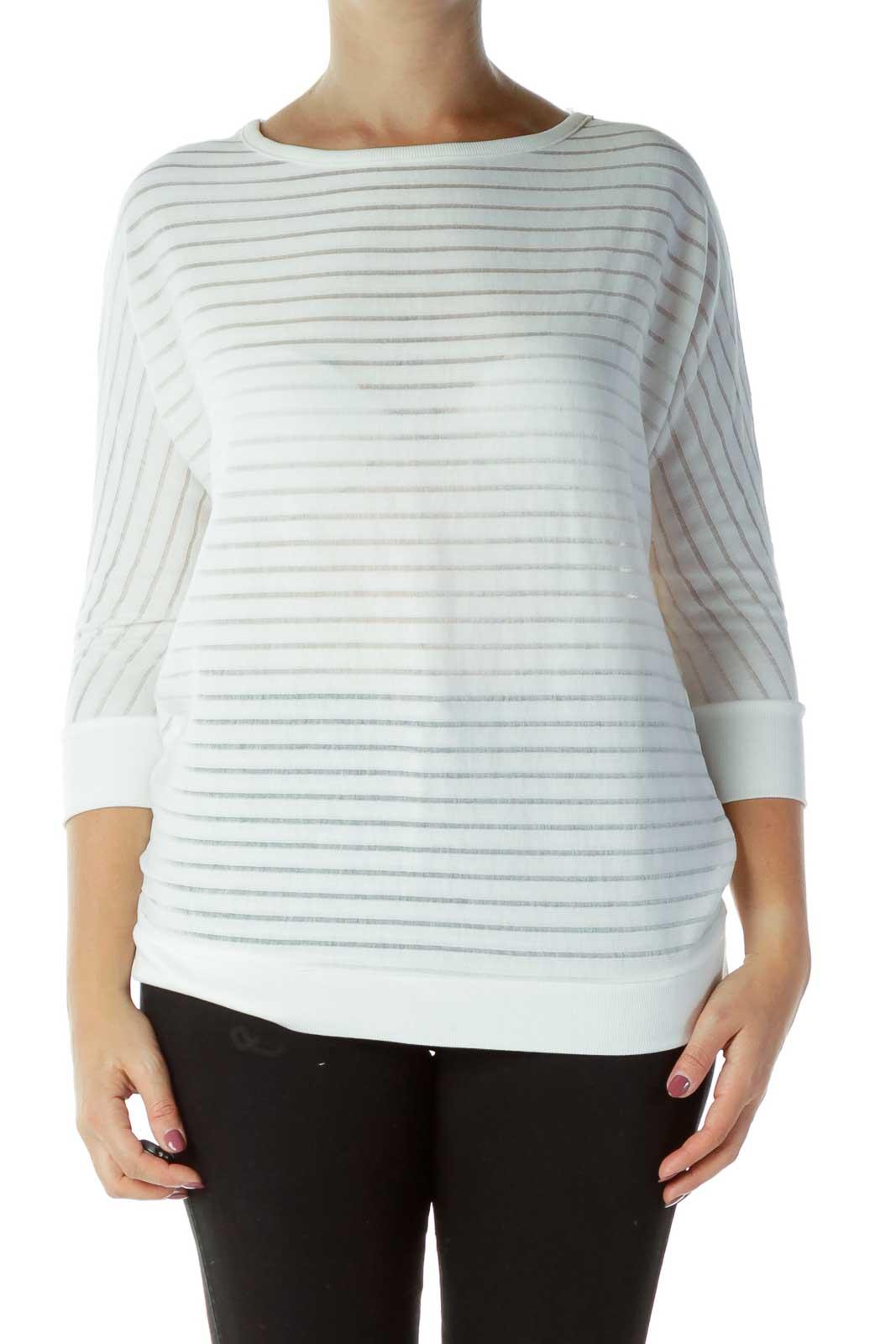 White Stripe Textured Top Front