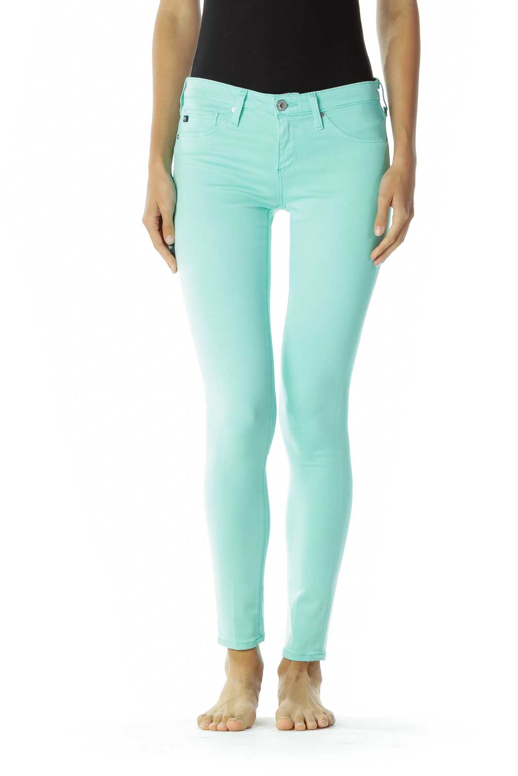 Green Skinny Jeans Front