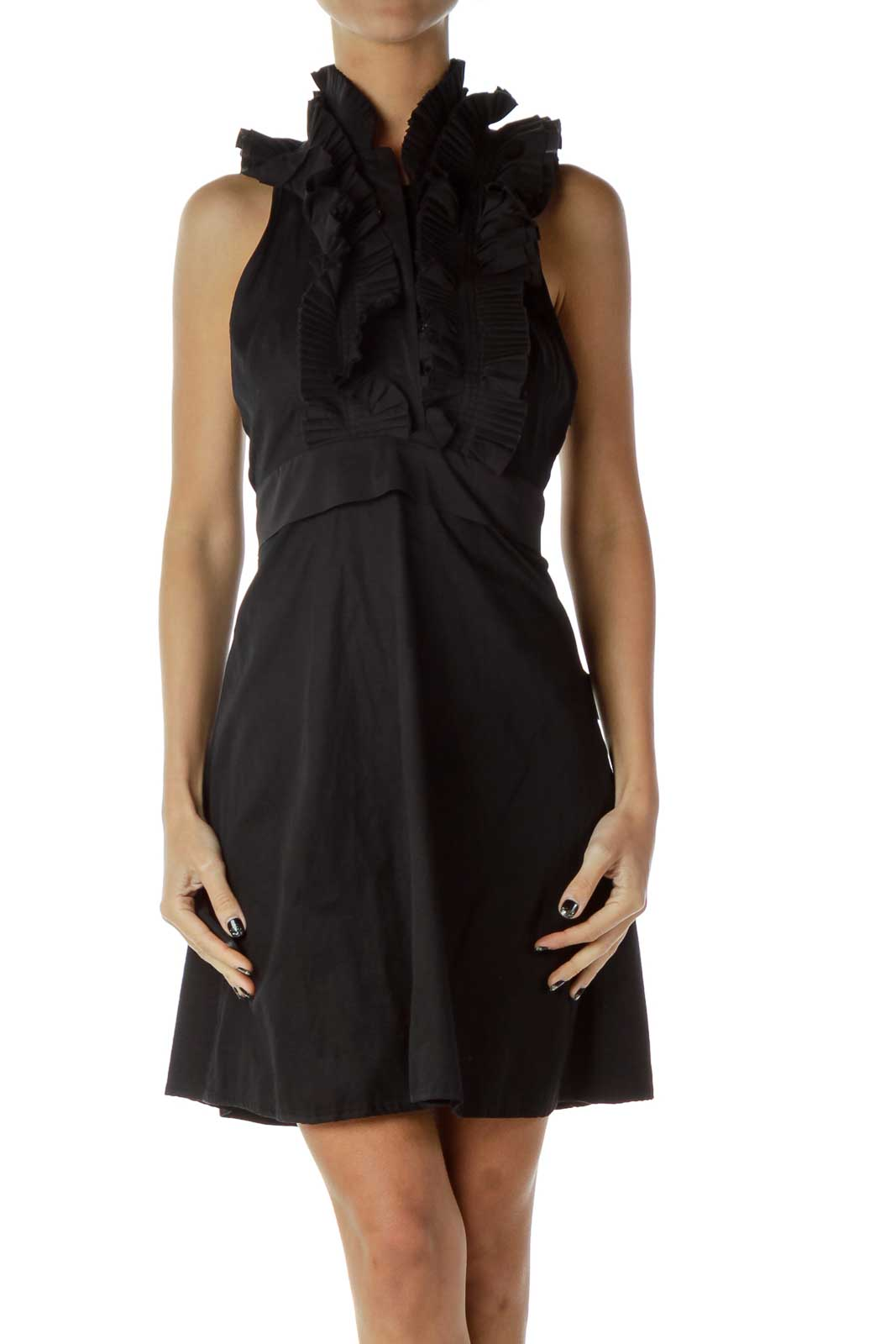 Black Halter Ruffled Dress Front