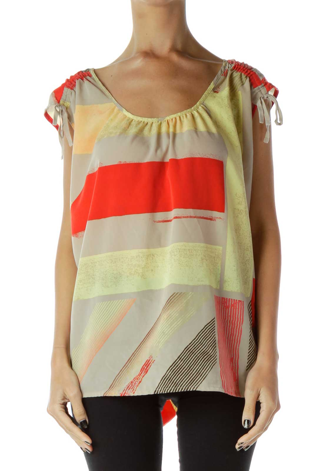 Red Gray Yellow Geometric Tank Top Front