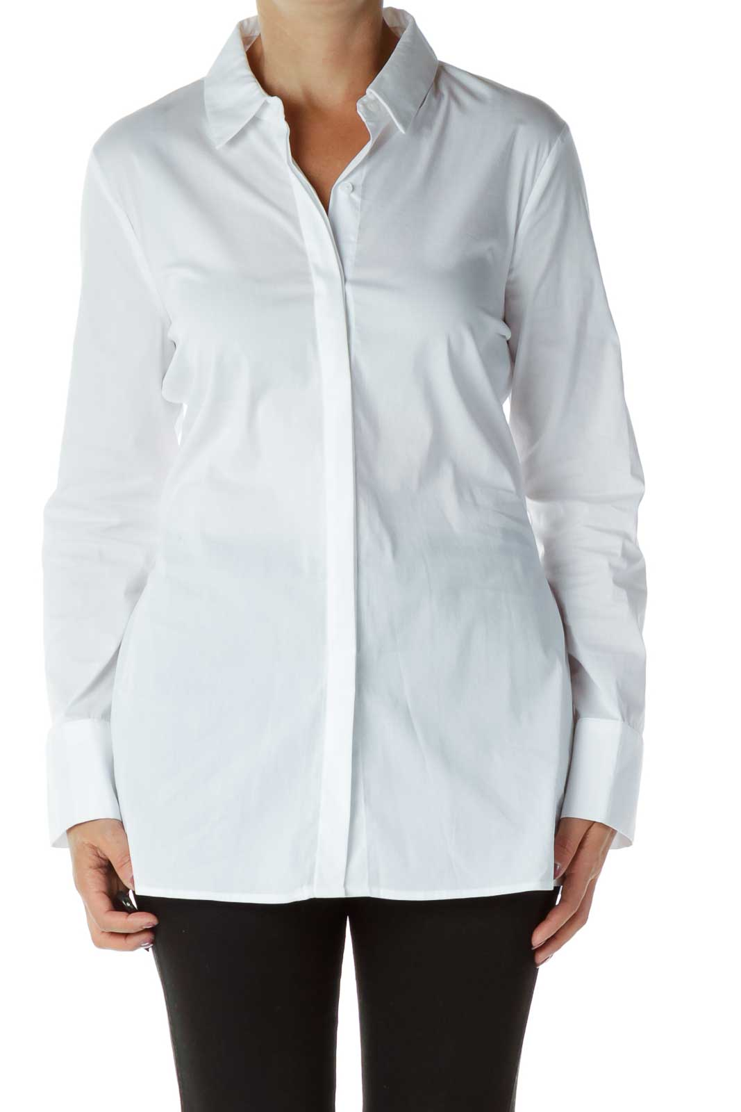 White Collared Buttoned Polo Shirt Front