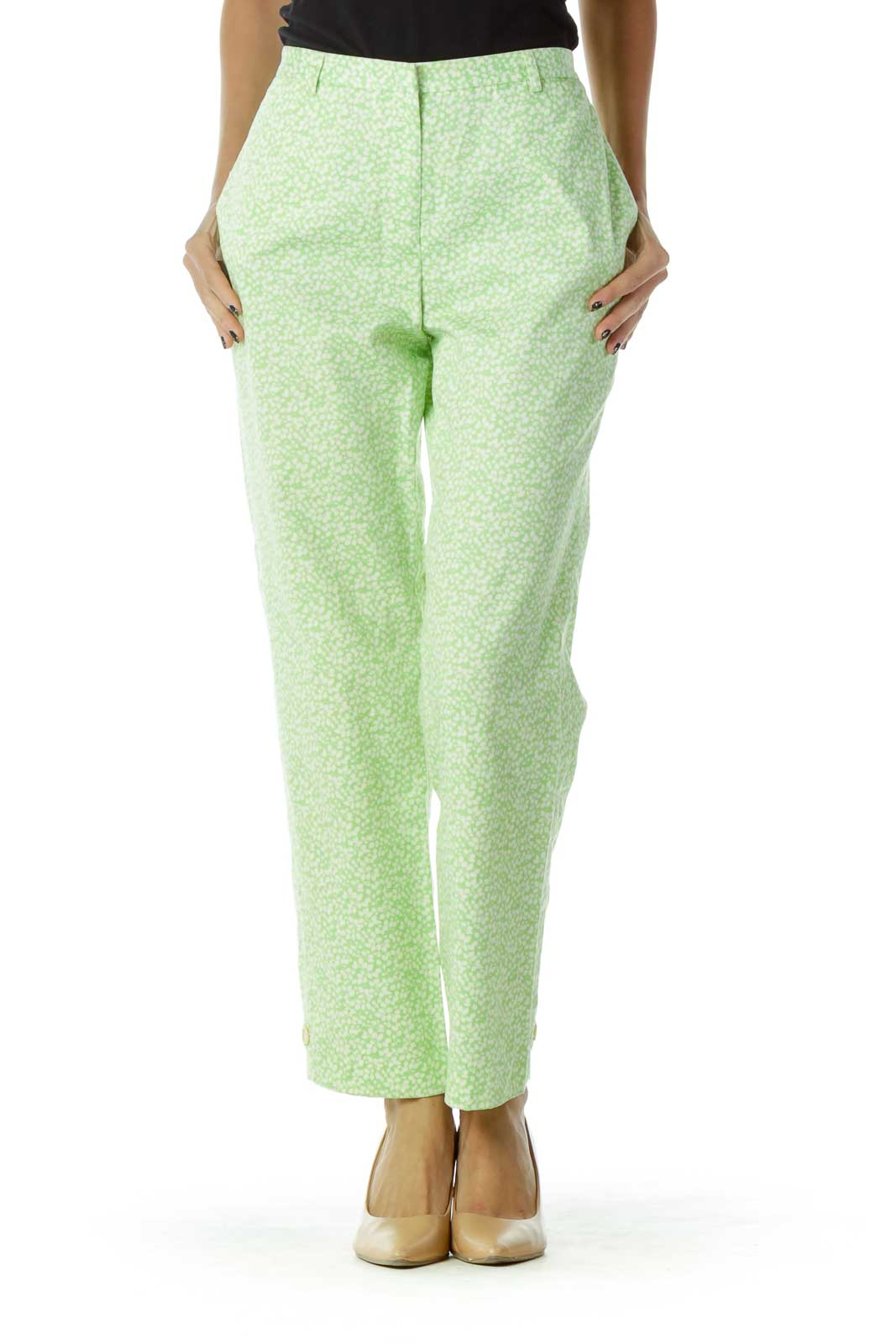 Green White Floral Pants Front