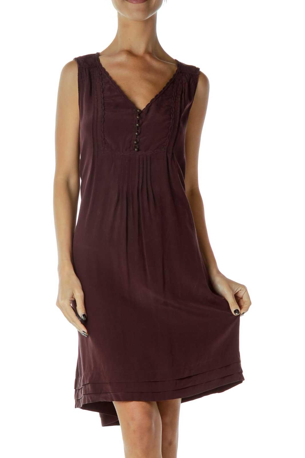 Burgundy Sleeveless Dress  Front