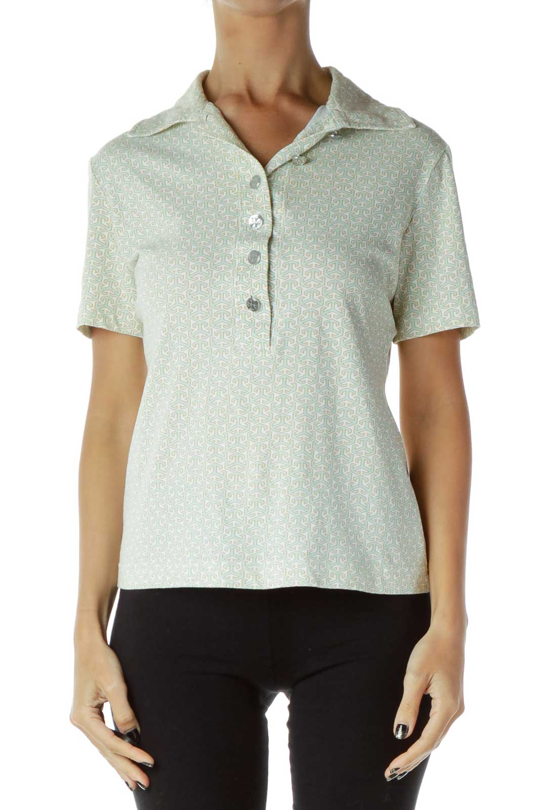 Green White Collared Shirt  Front