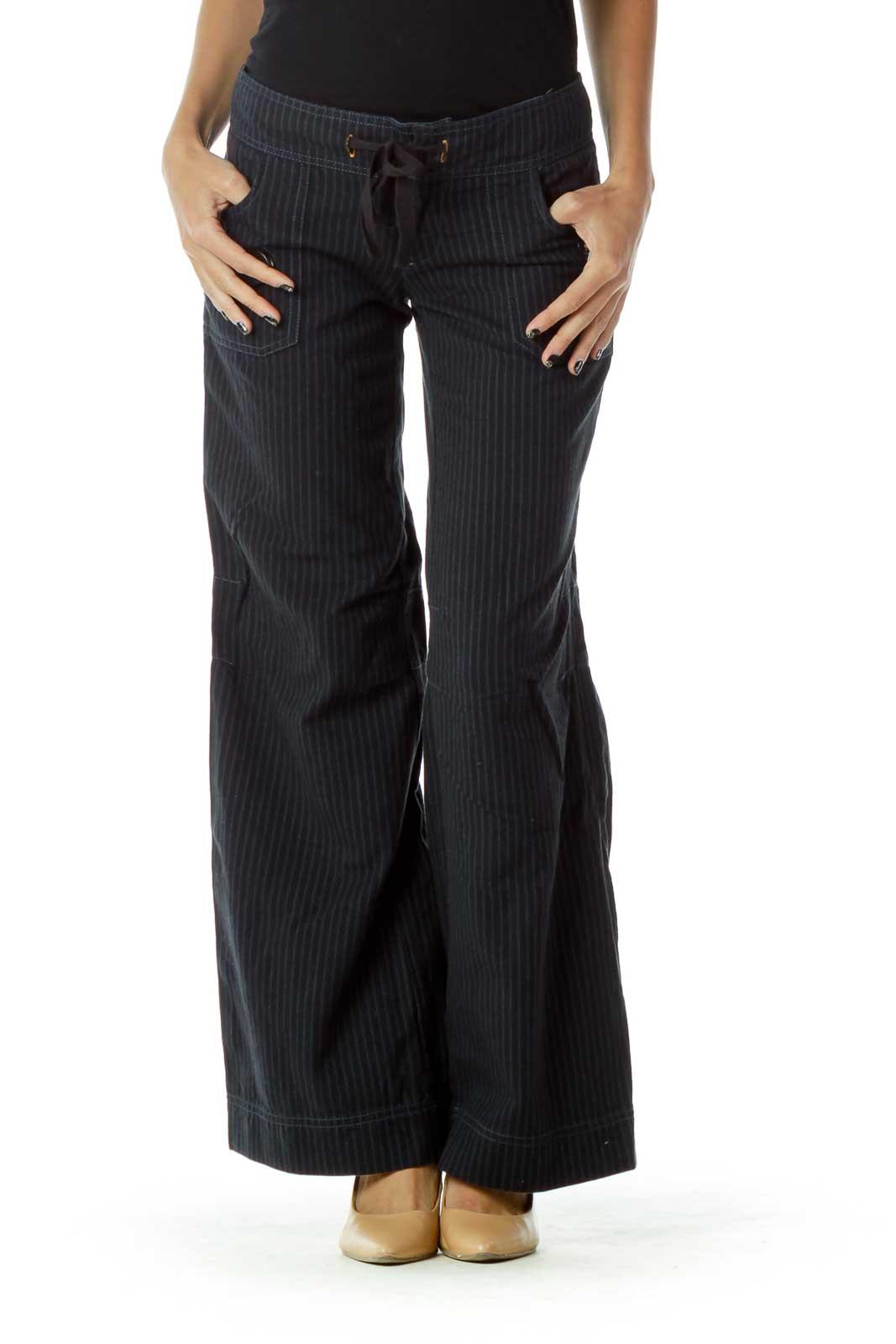 Black Blue Pinstripe Pants Front