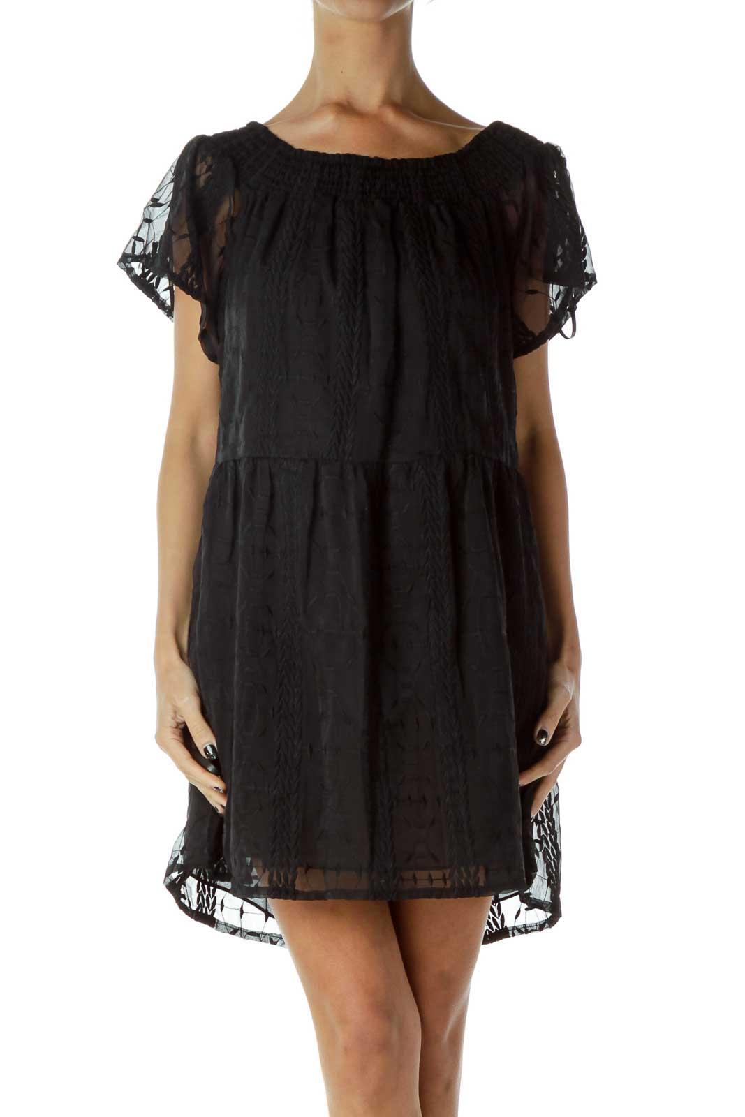 Black Off-Shoulder Cocktail Dress Front