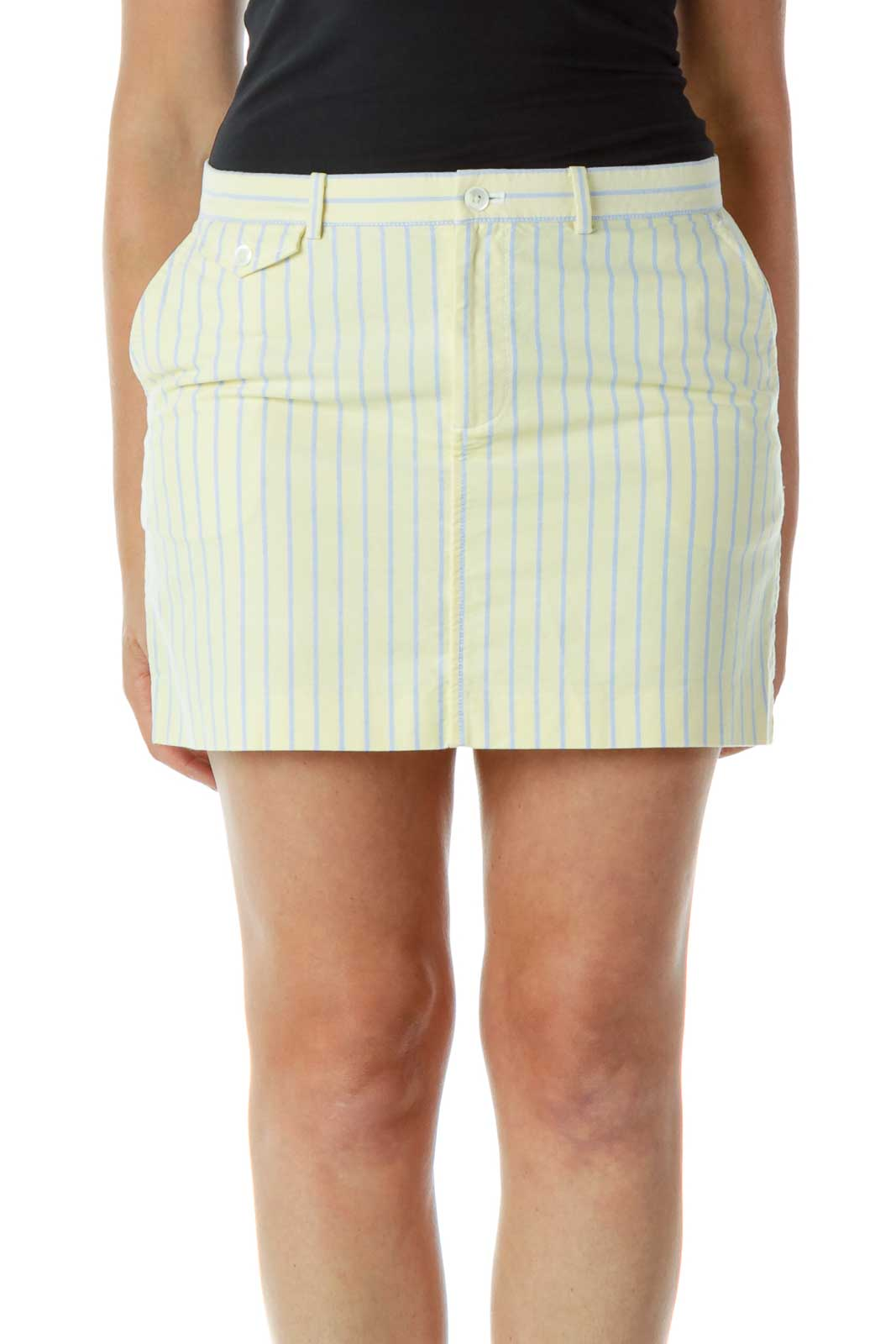 Yellow Blue Pinstripe Mini Skirt Front