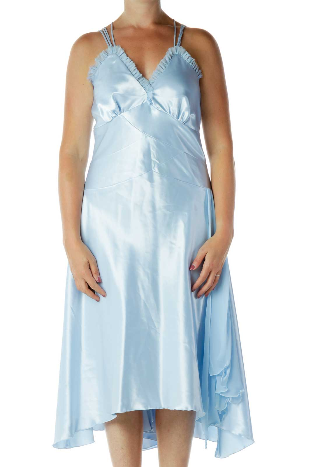 Blue Satin V-Neck Evening Dress Front