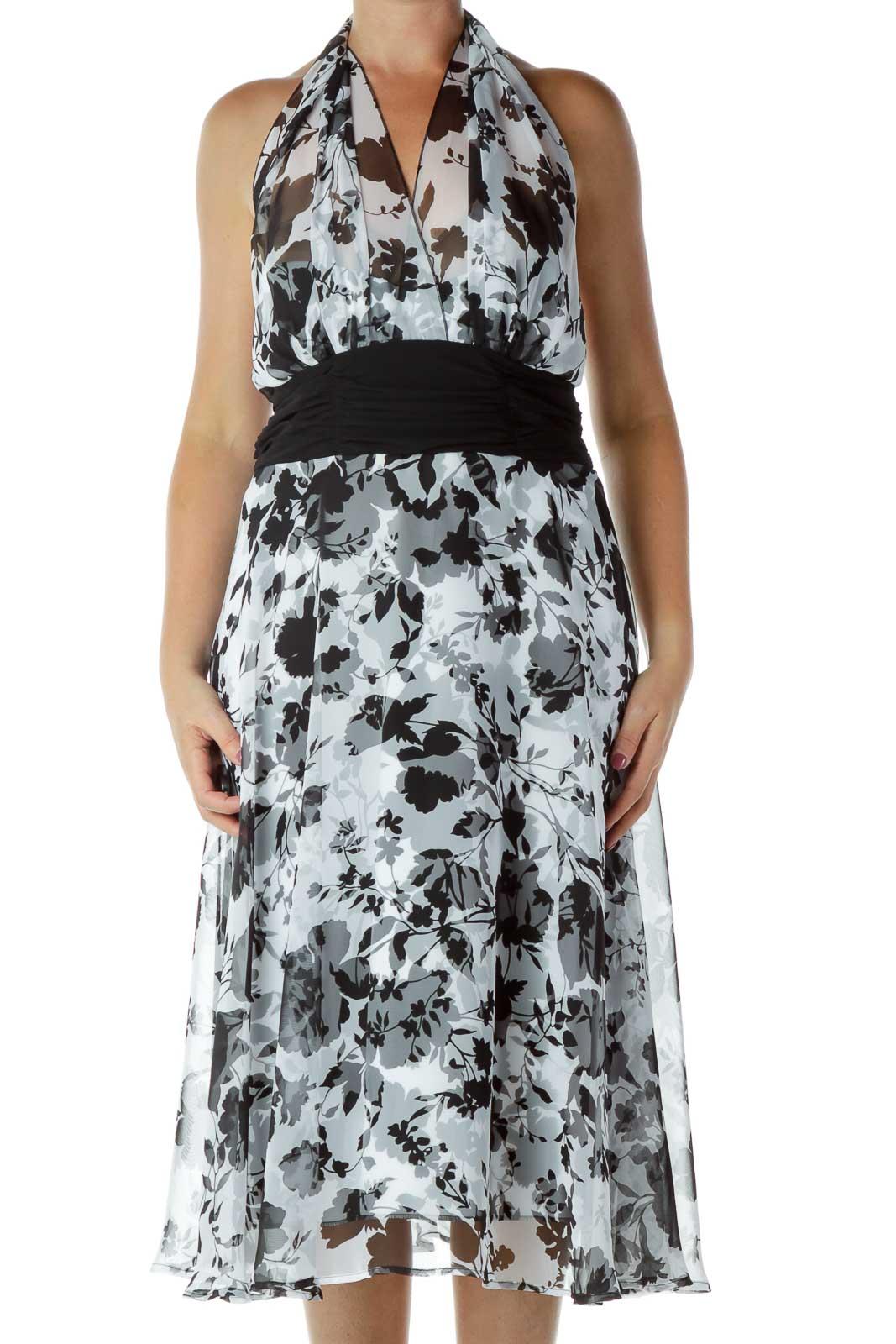White Black Halter Floral Dress Front