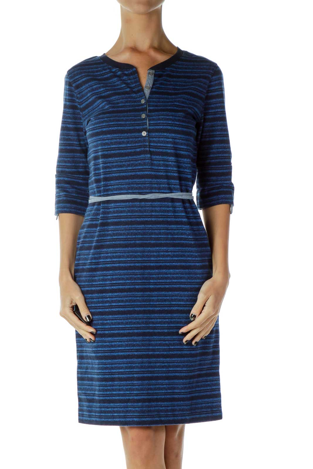 Blue Knit Striped Day Dress Front