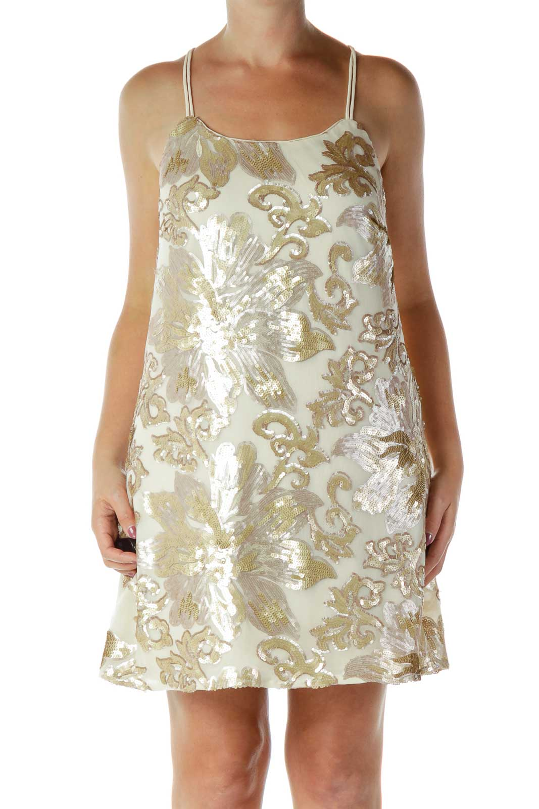 Gold Sequined Cocktail Dress Front
