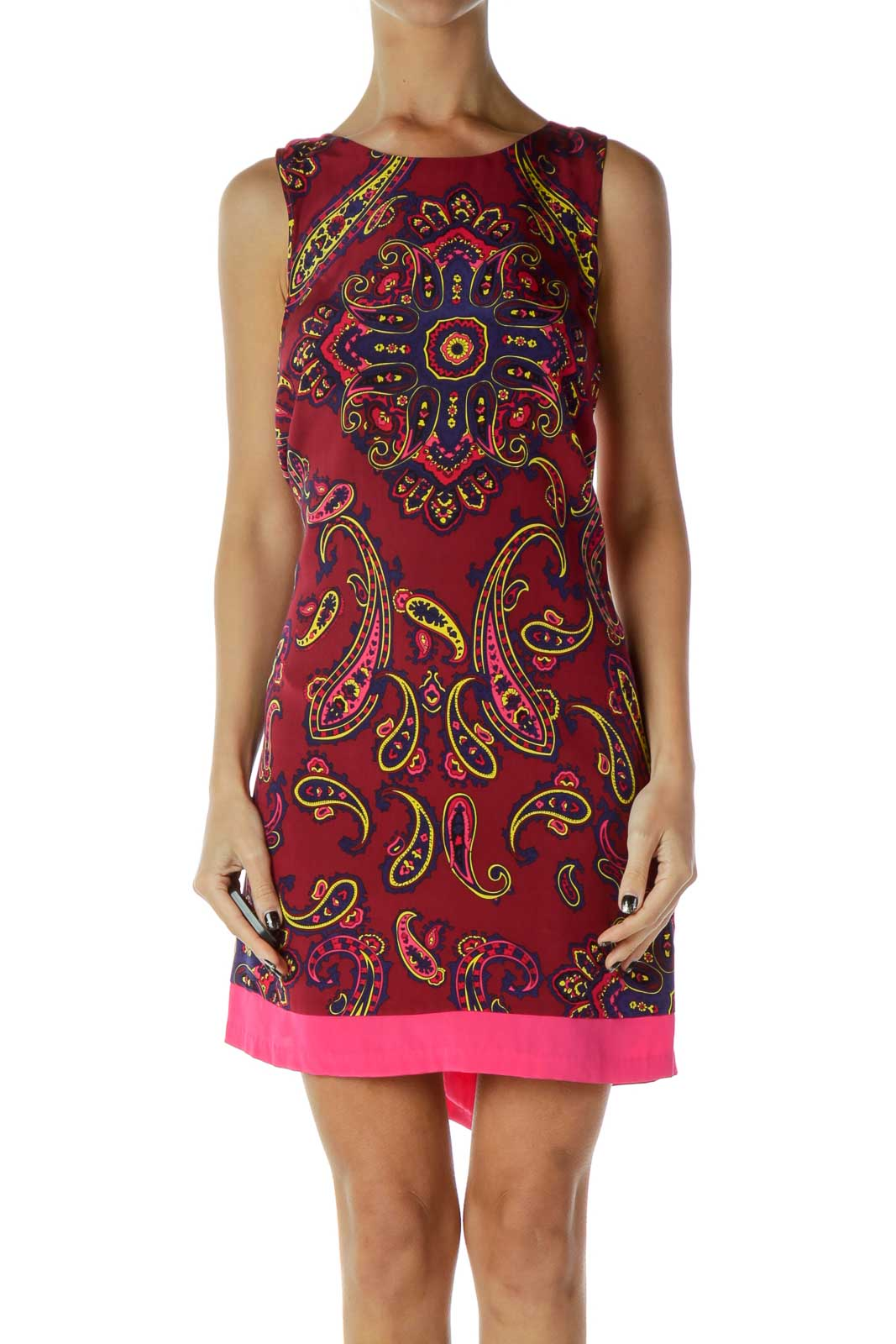 Red Blue Paisley Shift Dress Front