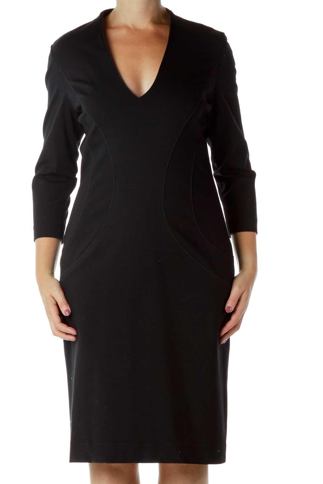 Black V-Neck Midi Dress Front