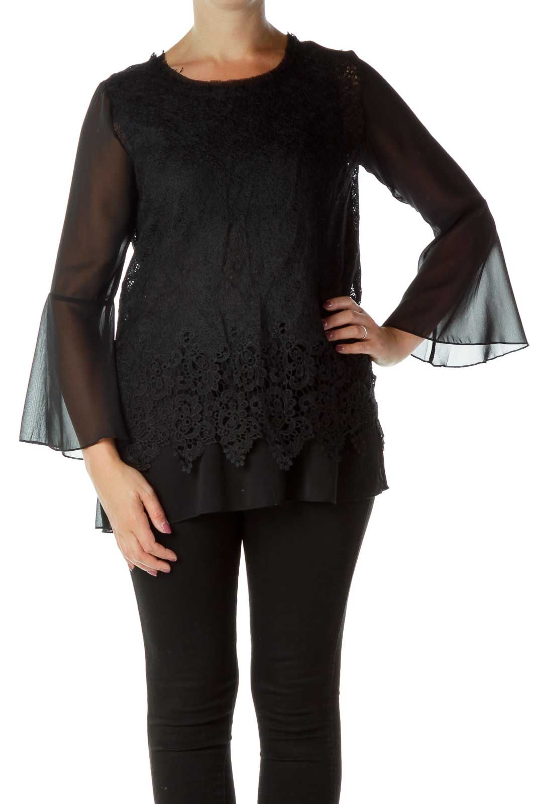 Black Sheer Bell Sleeve Blouse Front