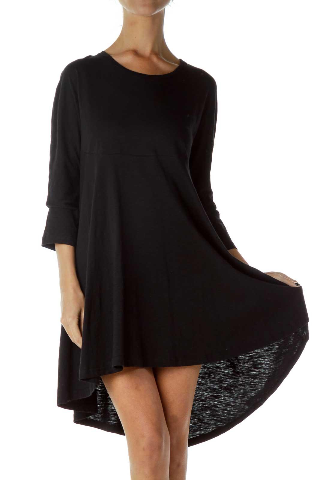 Black Long Sleeve Jersey Knit Dress Front