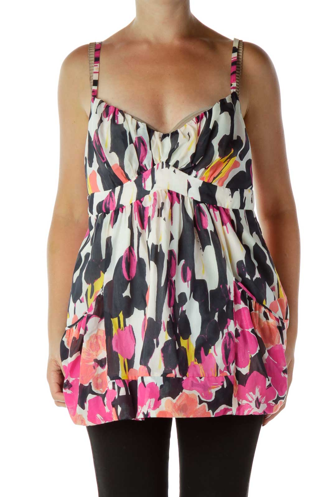 Navy Pink Floral Tank Top Front