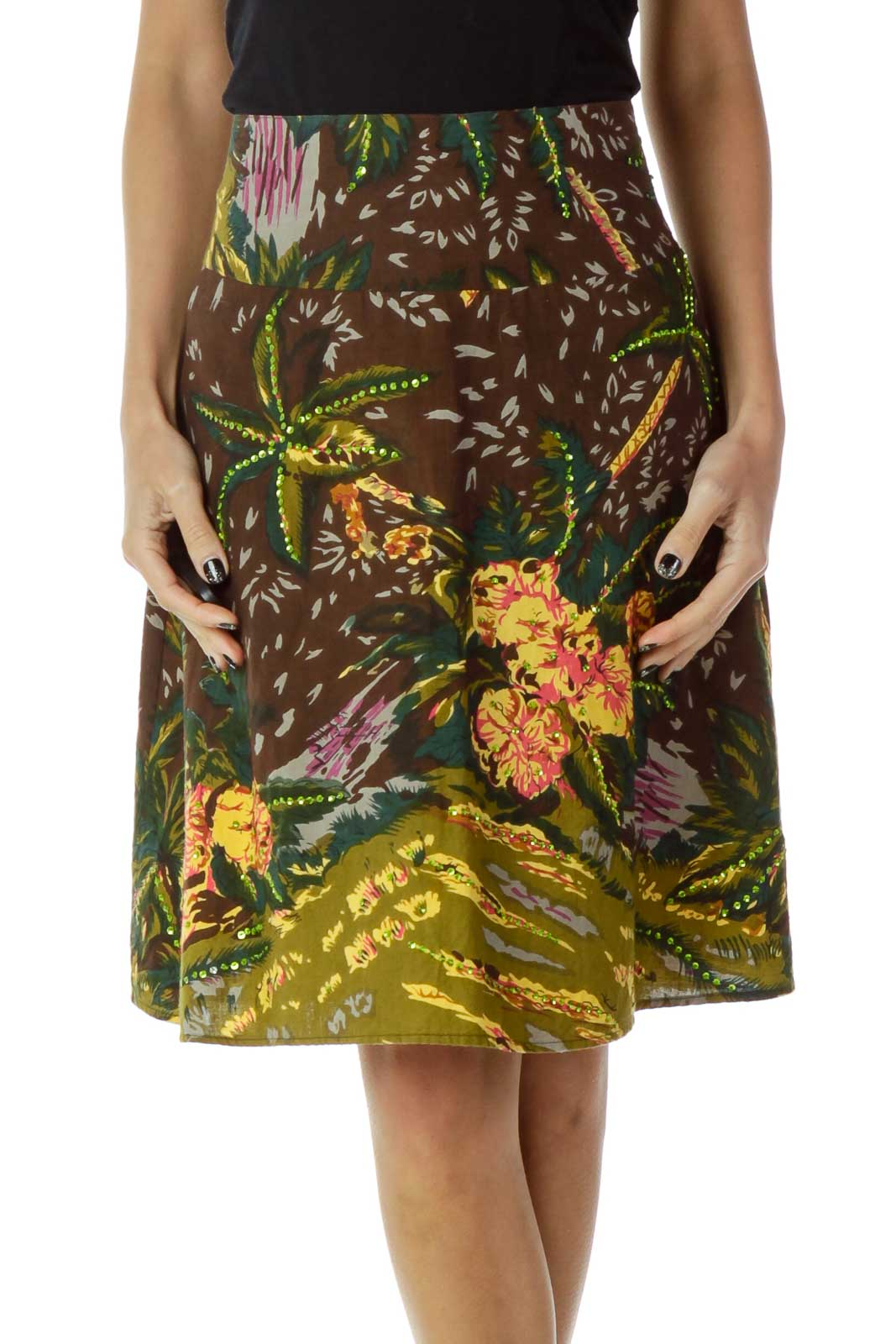 Brown Yellow Printed A-Line Skirt Front