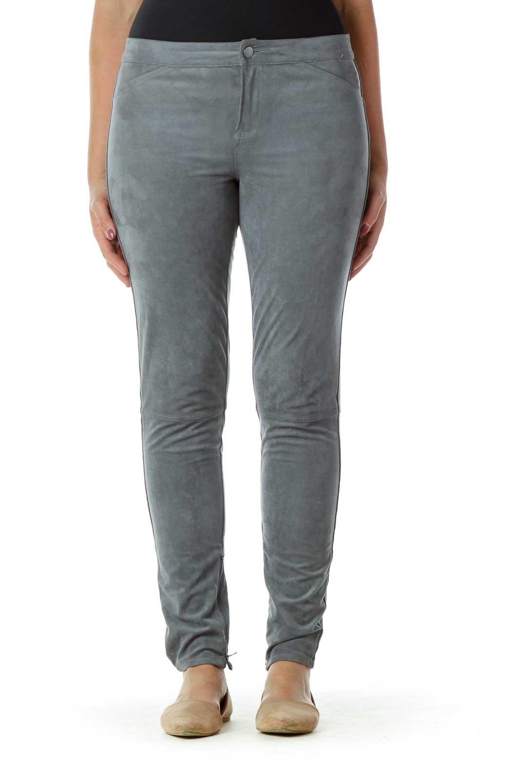 Gray Suede Skinny Zipper Leg Pants Front