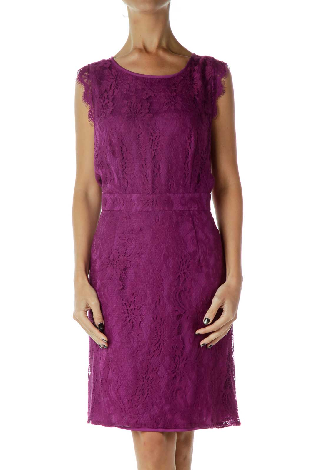 Purple Lace Dress Front