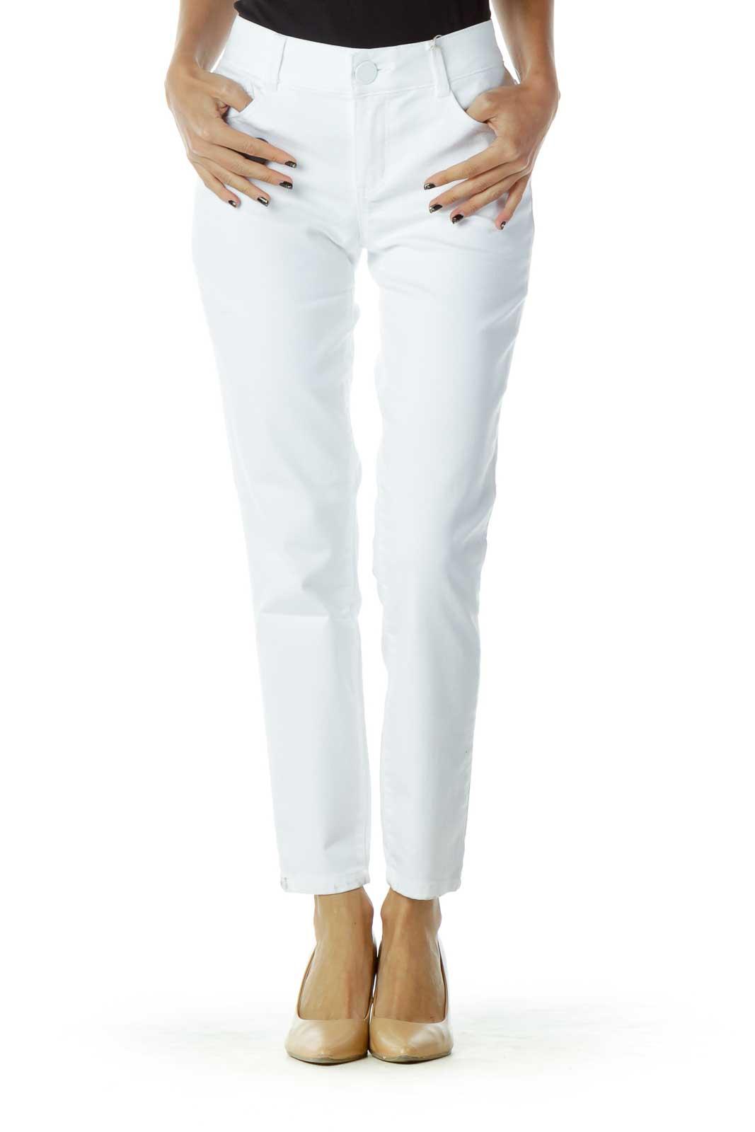 White Straight-Leg Jeans Front