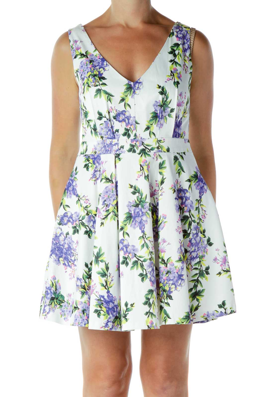V-Neck Flared Floral Dress Front