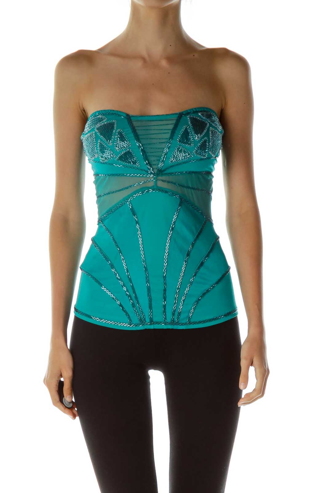 Green Beaded Tube Top Front