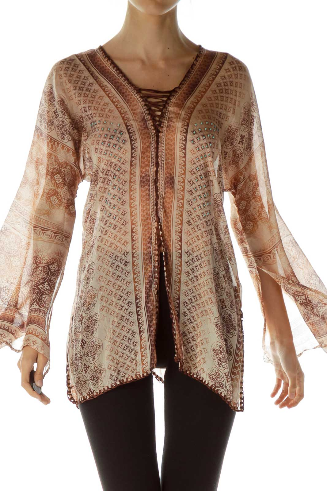 Brown Printed Bell Sleeve Blouse Front