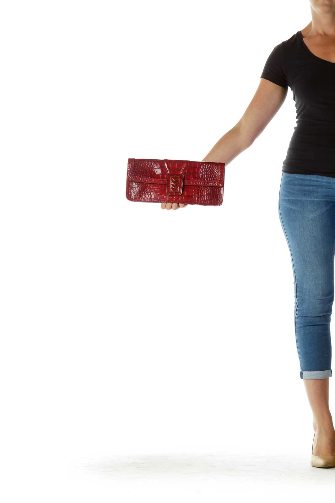 Red Leather Clutch Front