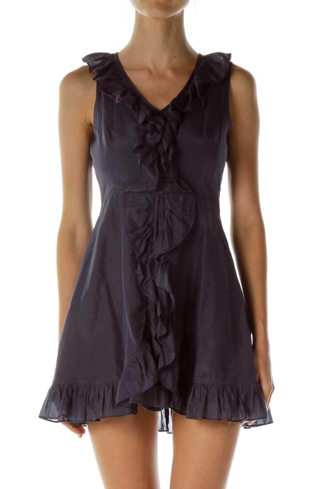 Purple Ruffled Sleeveless Cocktail Dress Front