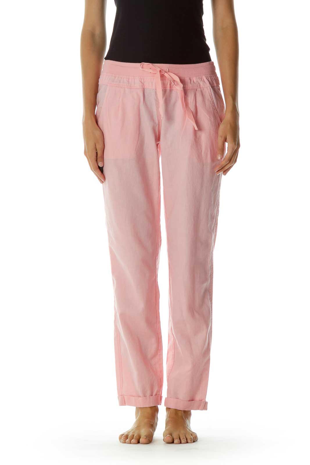 Pink Pocketed Drawstring Capri pants Front