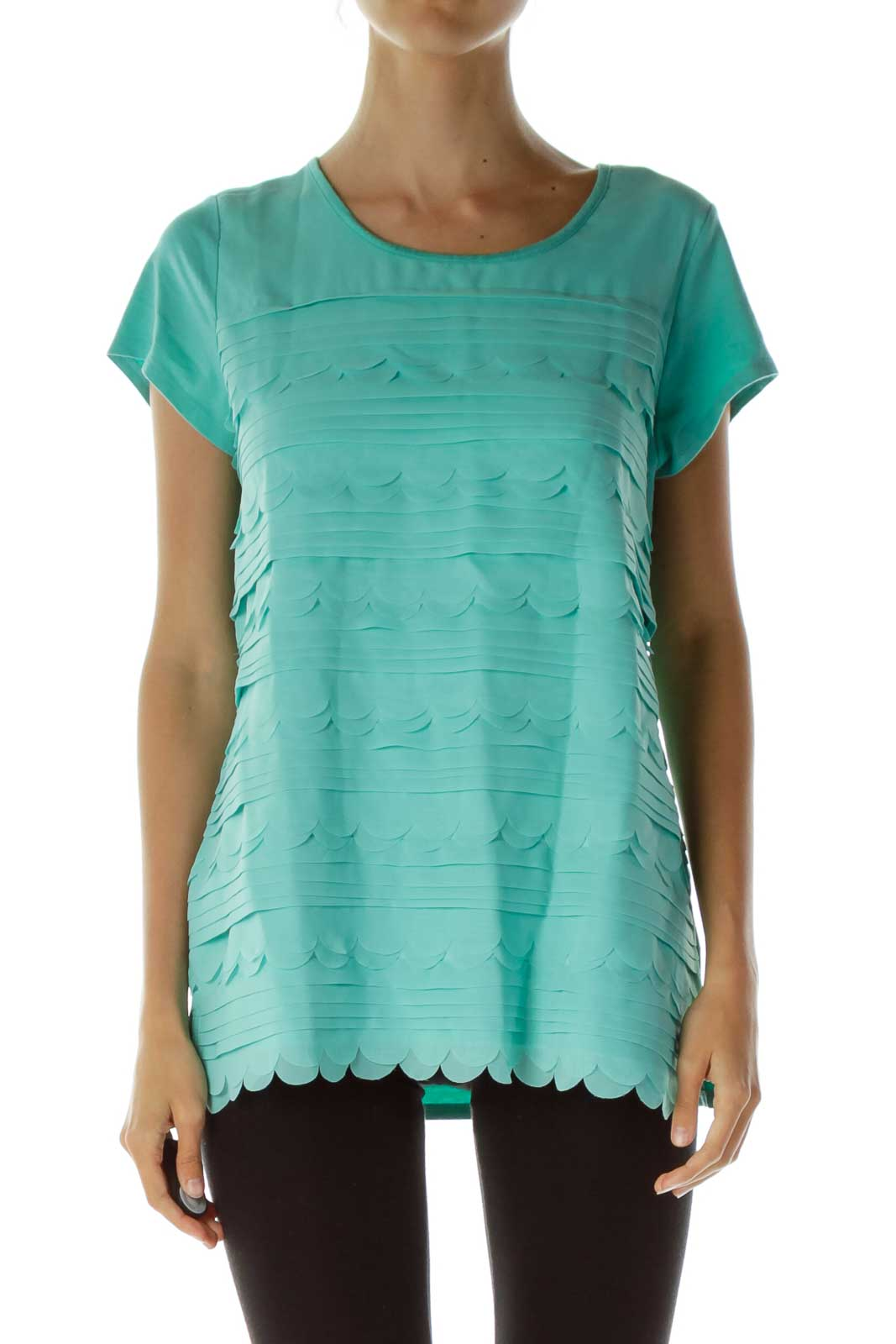 Baby Blue Ruffled Layered Top Front