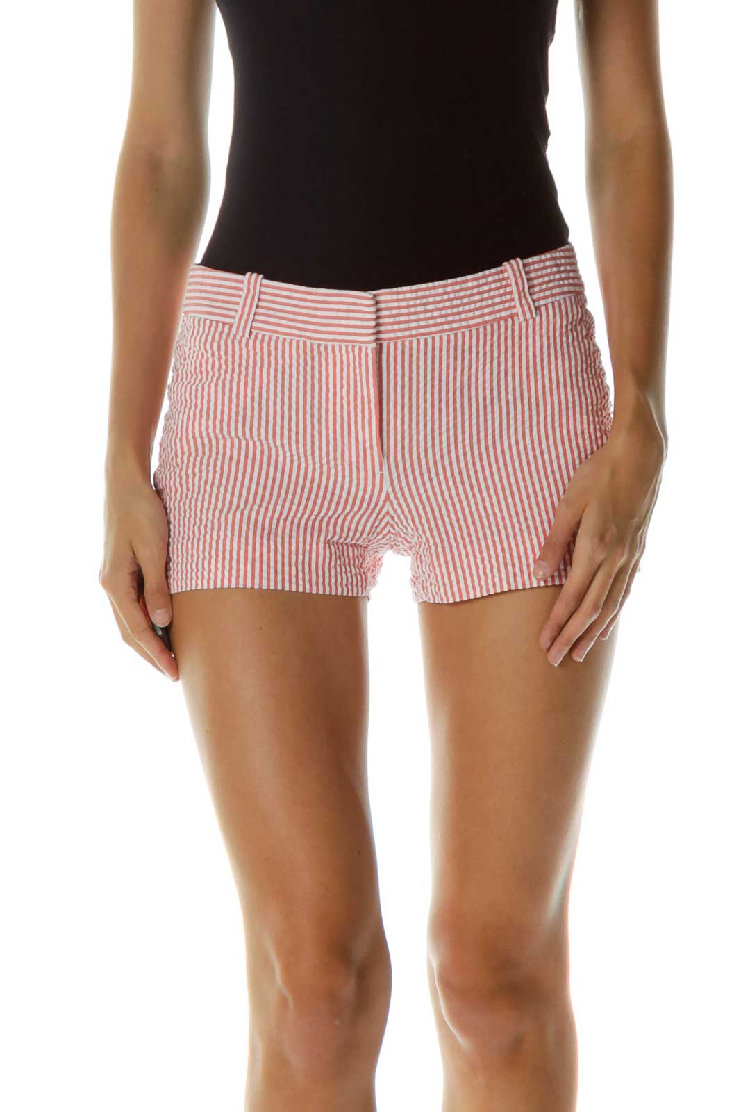Pink White Striped Shorts Front