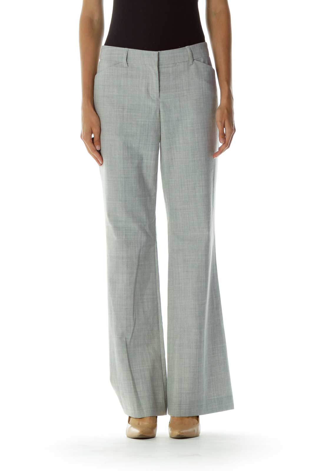 Gray Pocketed Zipper-fly Wide-Leg Pants Front